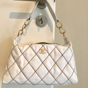 "Chanel ""Wild Stitch"" white leather hand bag"